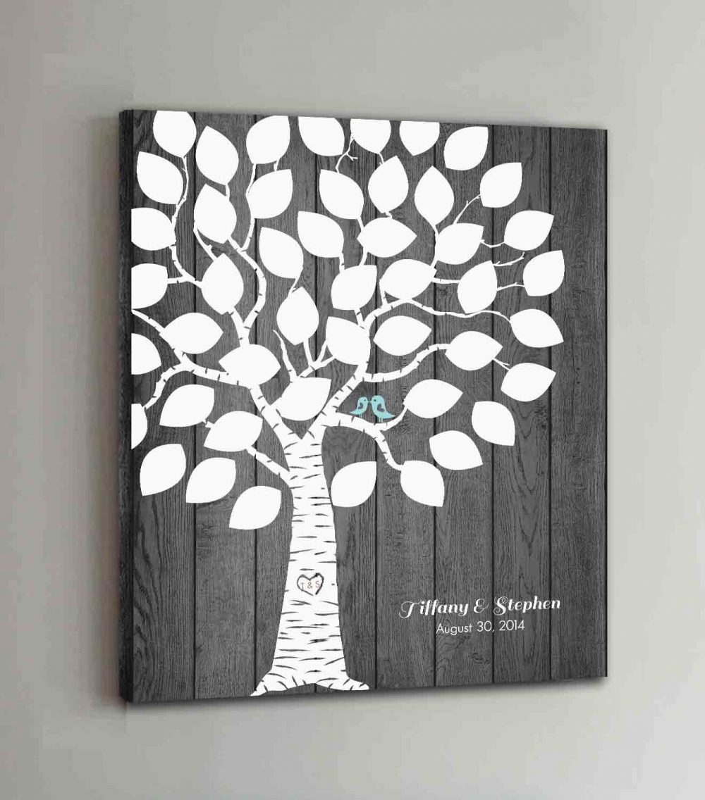 40 Guest Canvas Wedding Book Wood Tree Guestbook Canvas Alternative Book Rustic