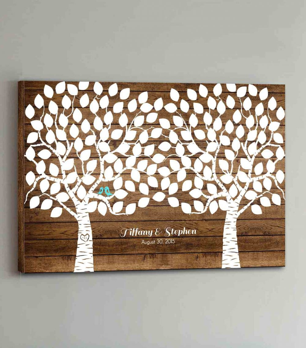 Canvas Wedding Guest Book Wood - 150 Guests Two Double Tree Guestbook Canvas Alternative Book Design