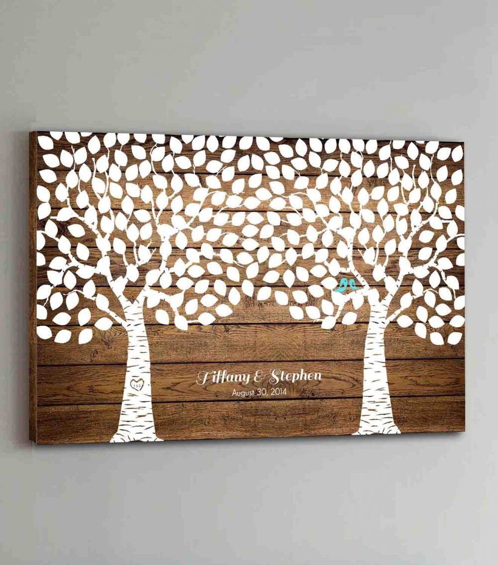 250 Guest Canvas Wedding Book Wood Two Double Tree Guestbook Canvas Alternative Guestbk - Design