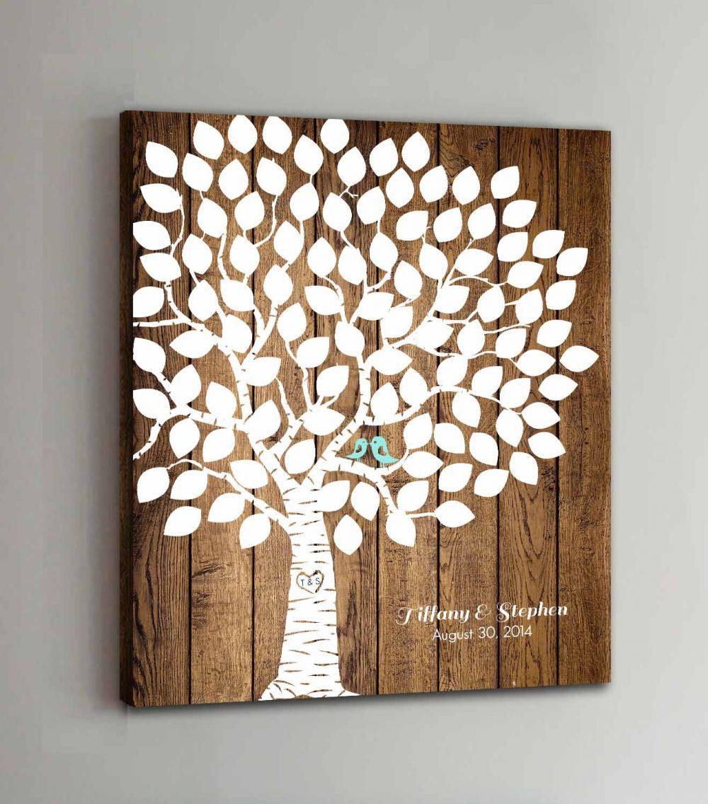 100 Guest Canvas Wedding Book Wood Guestbook Canvas Alternative