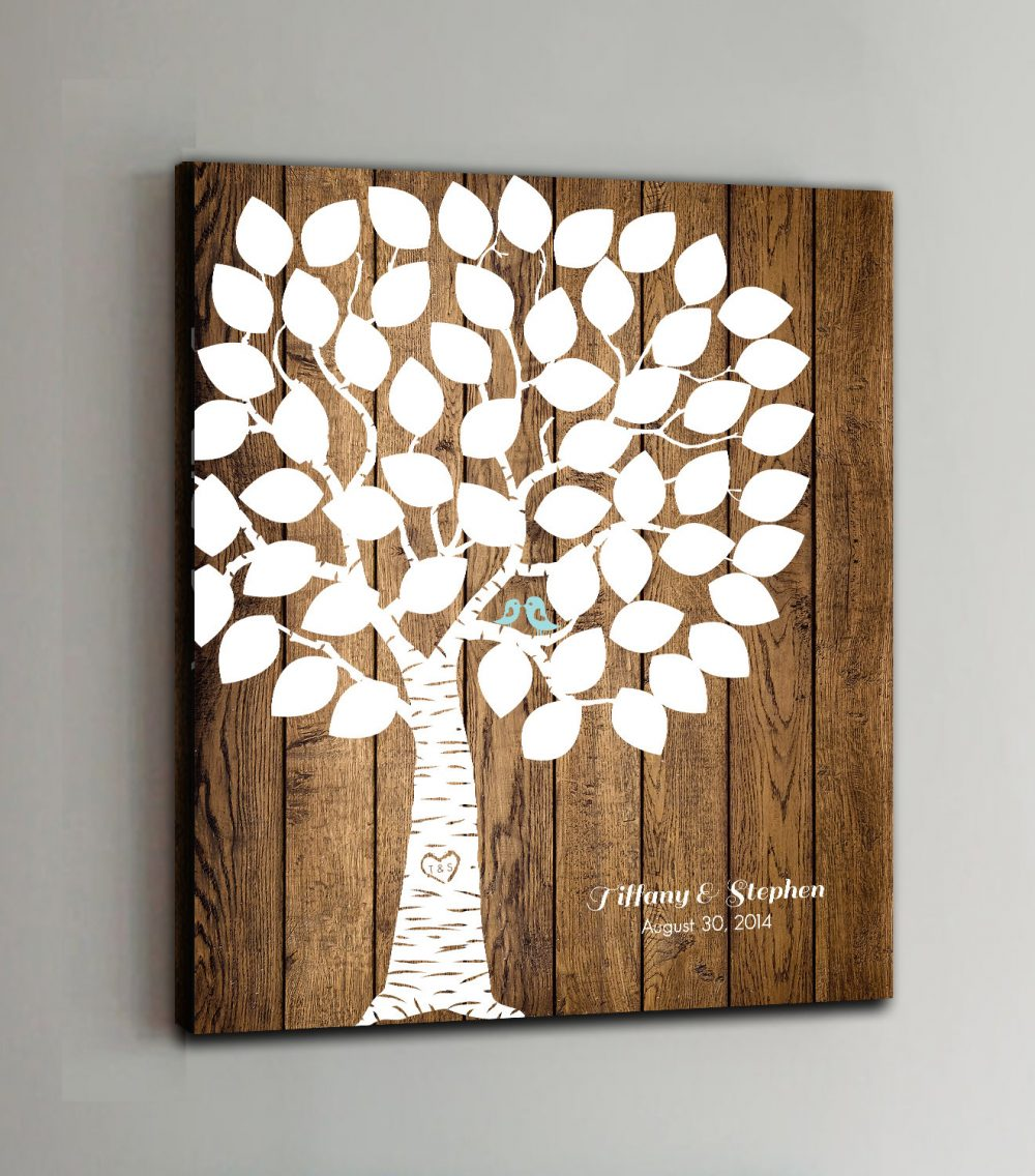 50 Guest Canvas Wedding Book Wood Tree Guestbook Canvas Alternative