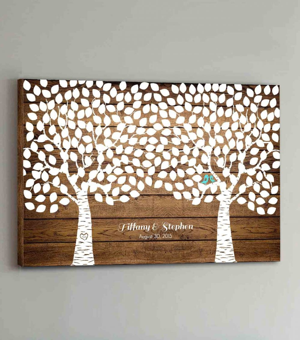 275 Guest Canvas Wedding Book Wood Two Double Tree Guestbook Canvas Alternative Guestbk - Design