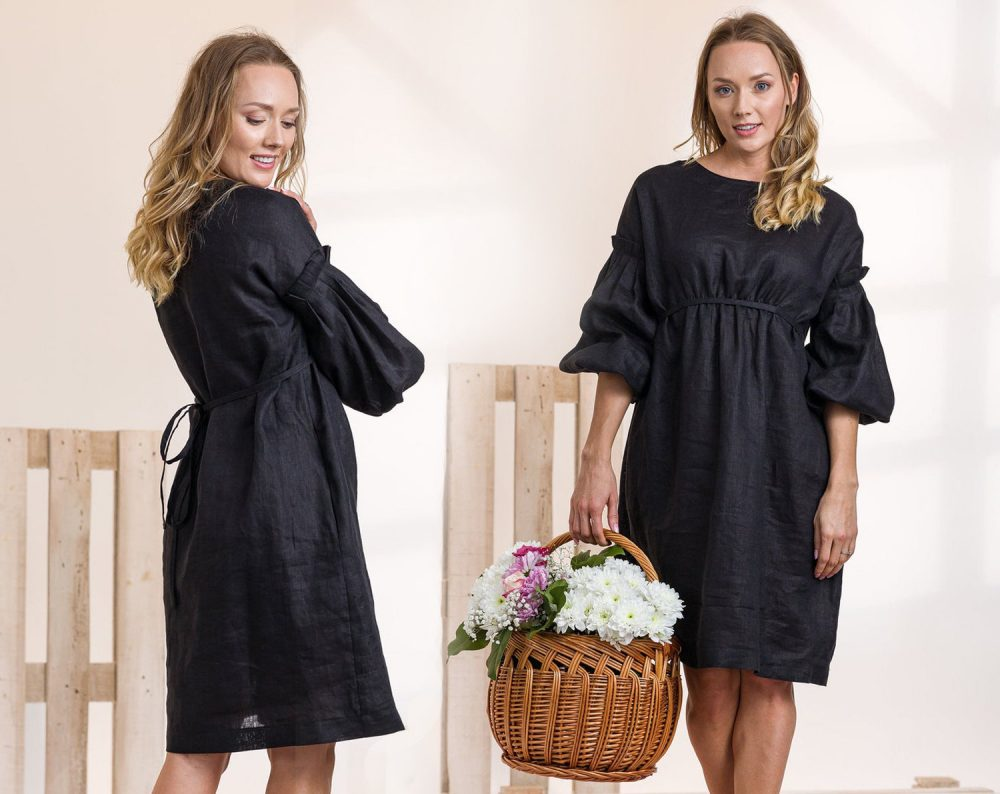 Black Linen Dress, Elegant Clothing, Summer Plus Size Linen, Cocktail Little Boho Dress