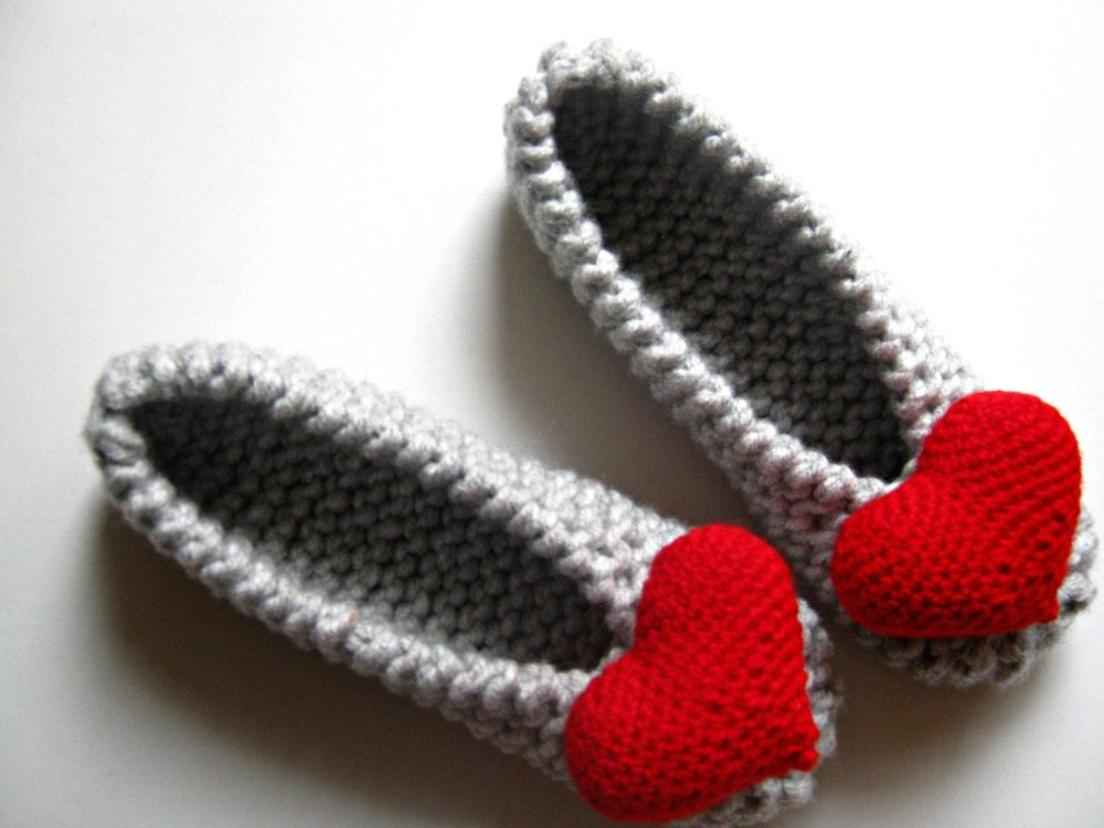Heart Ballet Flats, Knitted Womens Slippers, Bridal Wedding Bridesmaid Gift, Red Gift For Woman
