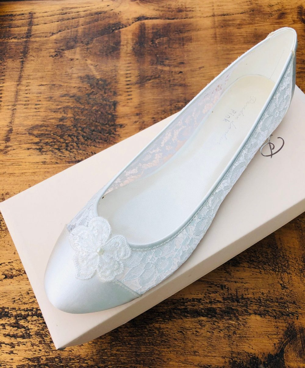Women's Ivory Satin & Lace With Flower Detail Ballerina Flat Wedding Bridal Shoes