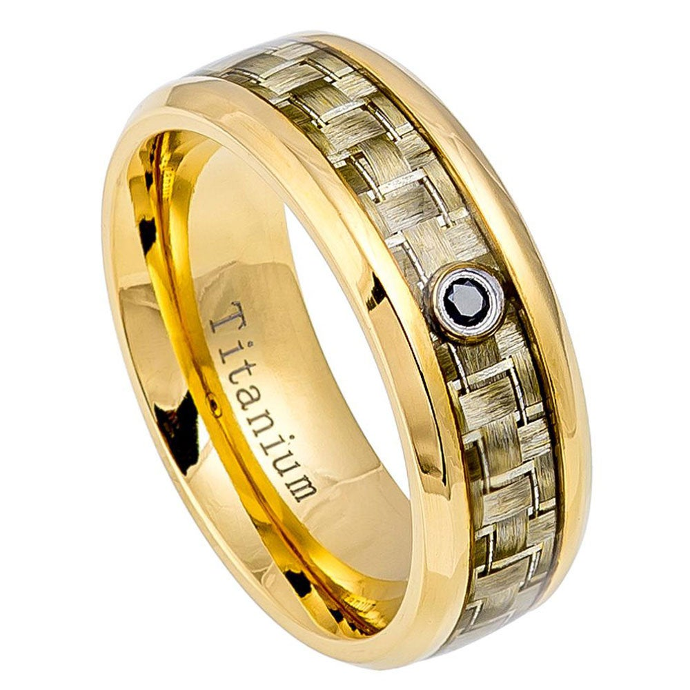 8mm Titanium Band Yellow Ip Ring Carbon Fiber Inlay 0.07Ct Black Diamond(Jdti465