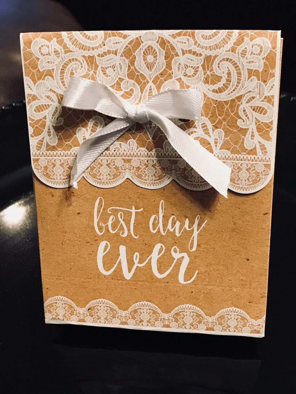 "12 Favor Boxes, Treat Boxes With Ribbons, Lace & Scalloped Cardstock Paper, Perfect For Weddings ""Best Day Ever"" Printed On Box"