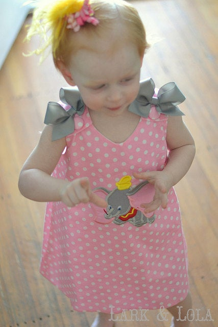 Dumbo Elephant Applique Monogram Pink Polka Dot A-Line Dress With Gray Bows - Flying Elephant Dress Dumbo Birthday Party