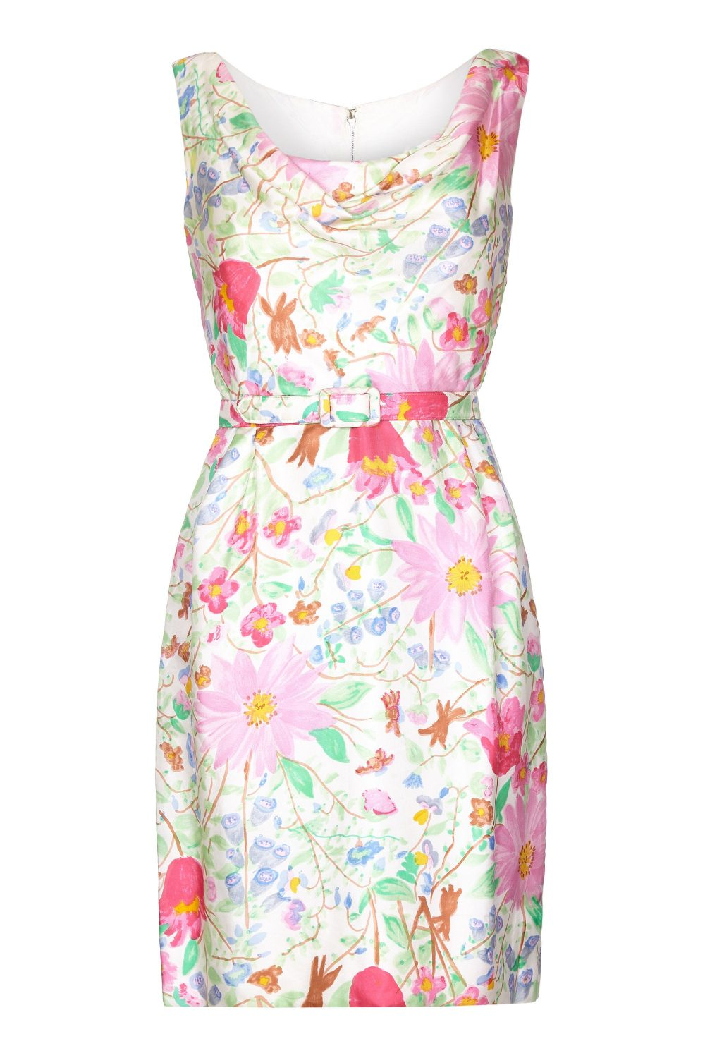 Jeunesse 1960S Silk Floral Printed Dress With Matching Belt Uk Size 8-10