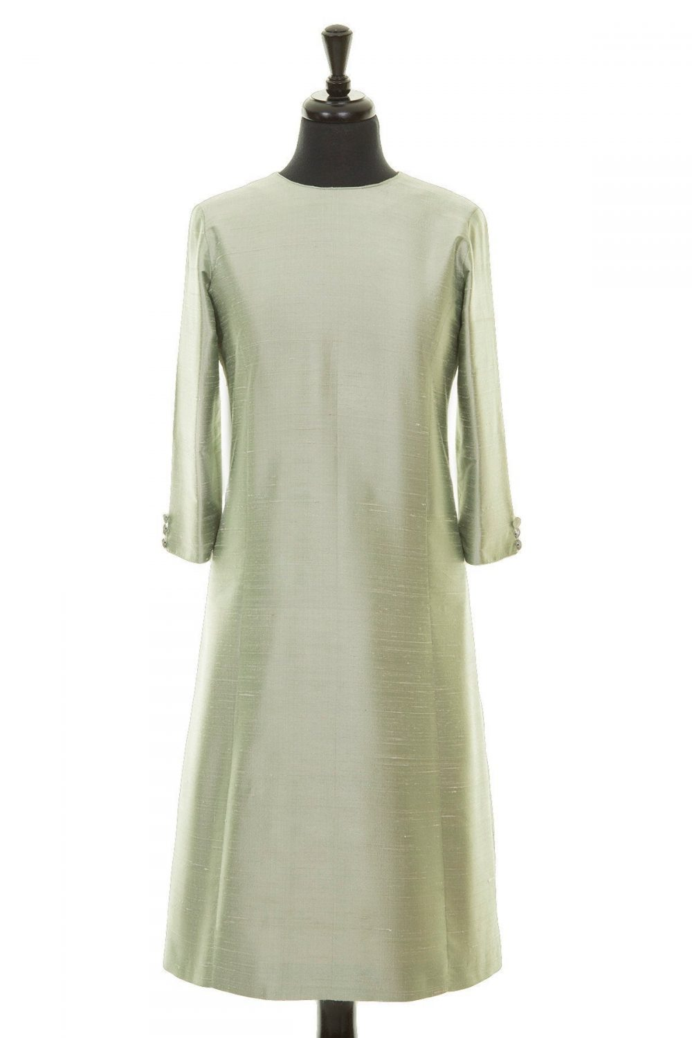 Ladies Pale Green Raw Silk A-Line Dress, Mother Of The Bride Outfit, Opera Plus Size, Petite, Bespoke