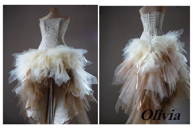 Olivia, Bronze & Beige Prom Dress, Tulle Bridesmaid Knee-Length Formal Dress, Sweetheart Party Dress, Evening Dress, A-Line Dress