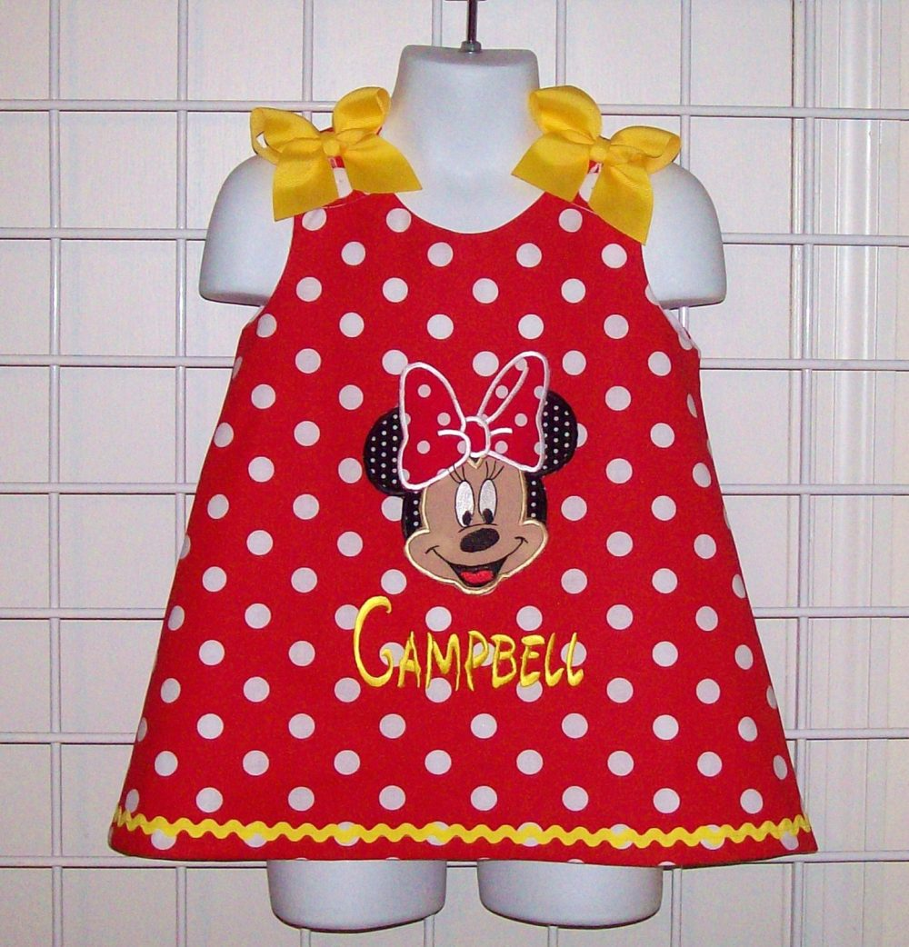Red Polka Dot Mnnie Mouse Applique Face With Monogram A-Line Dress Yellow Trim - Minnie Birthday Party Dress Vacation