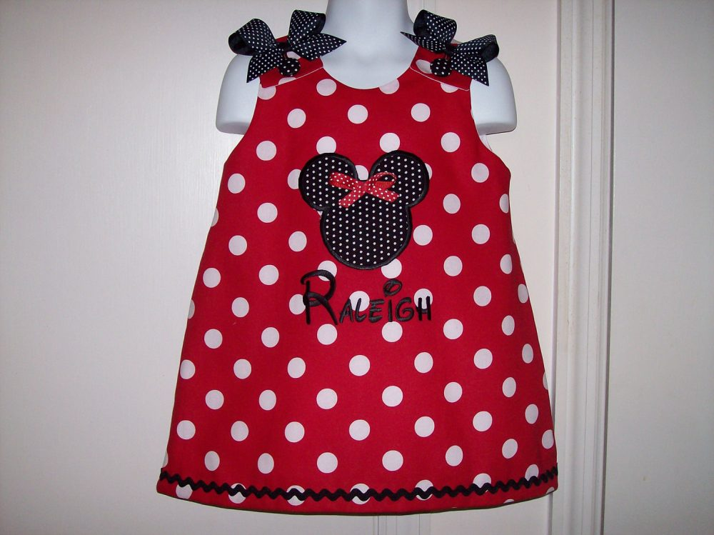 Red Polka Dot Mnnie Mouse Applique With Monogram A-Line Dress - Birthday Party School Vacation Mickey
