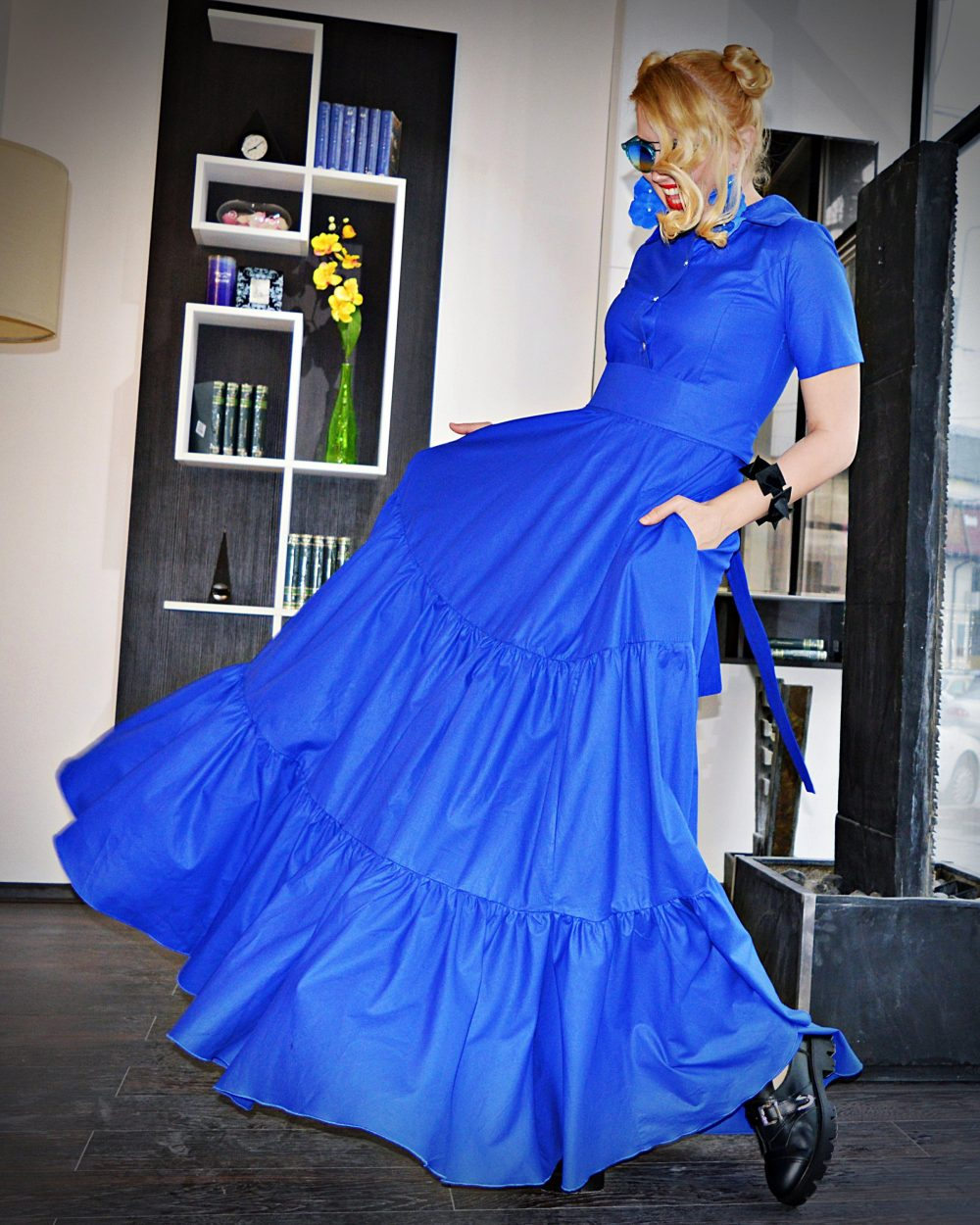 Shirt Dress For Women Summer Maxi With Pockets Formal Party Rockabilly Cotton Pin Up A-Line Flounces Tdk340