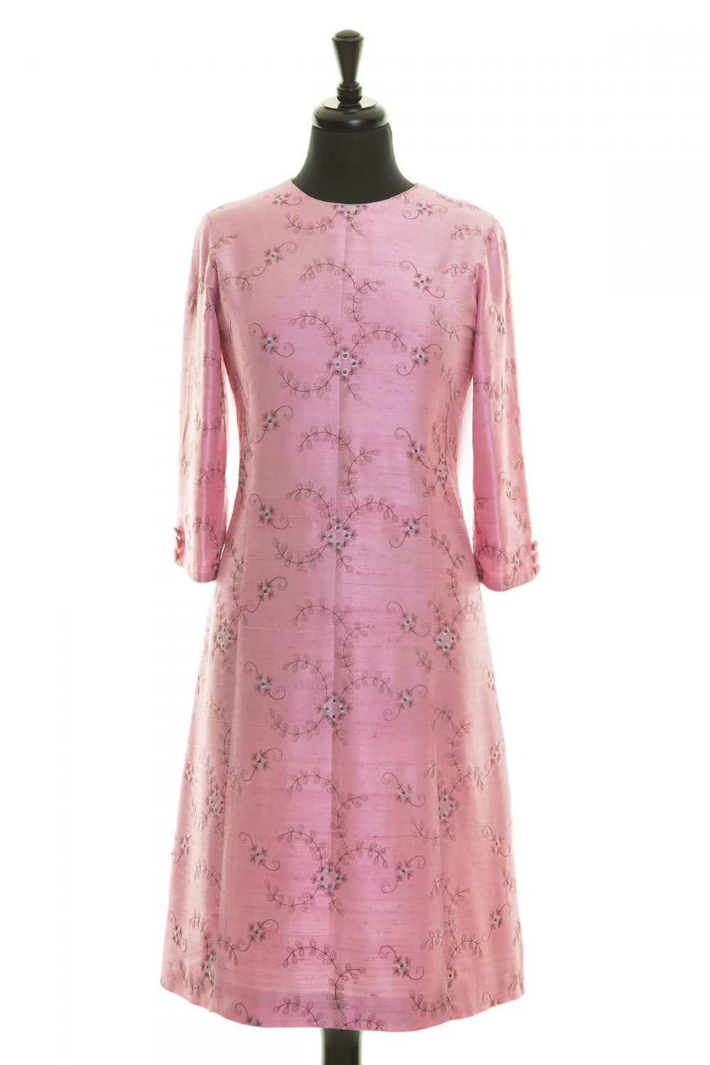 Women's Light Pink Embroidered Silk A-Line Dress, 3/4 Length Sleeves, Mother Of The Bride Opera Outfit, Ladies Day, Races, Party