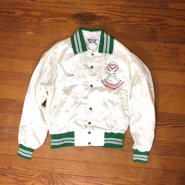 80S Chainstitch Satin Jacket White Silky Lightweight Womens Oversized Mens Large Baseball Jacket 1988 Chain Stitch Embroidery
