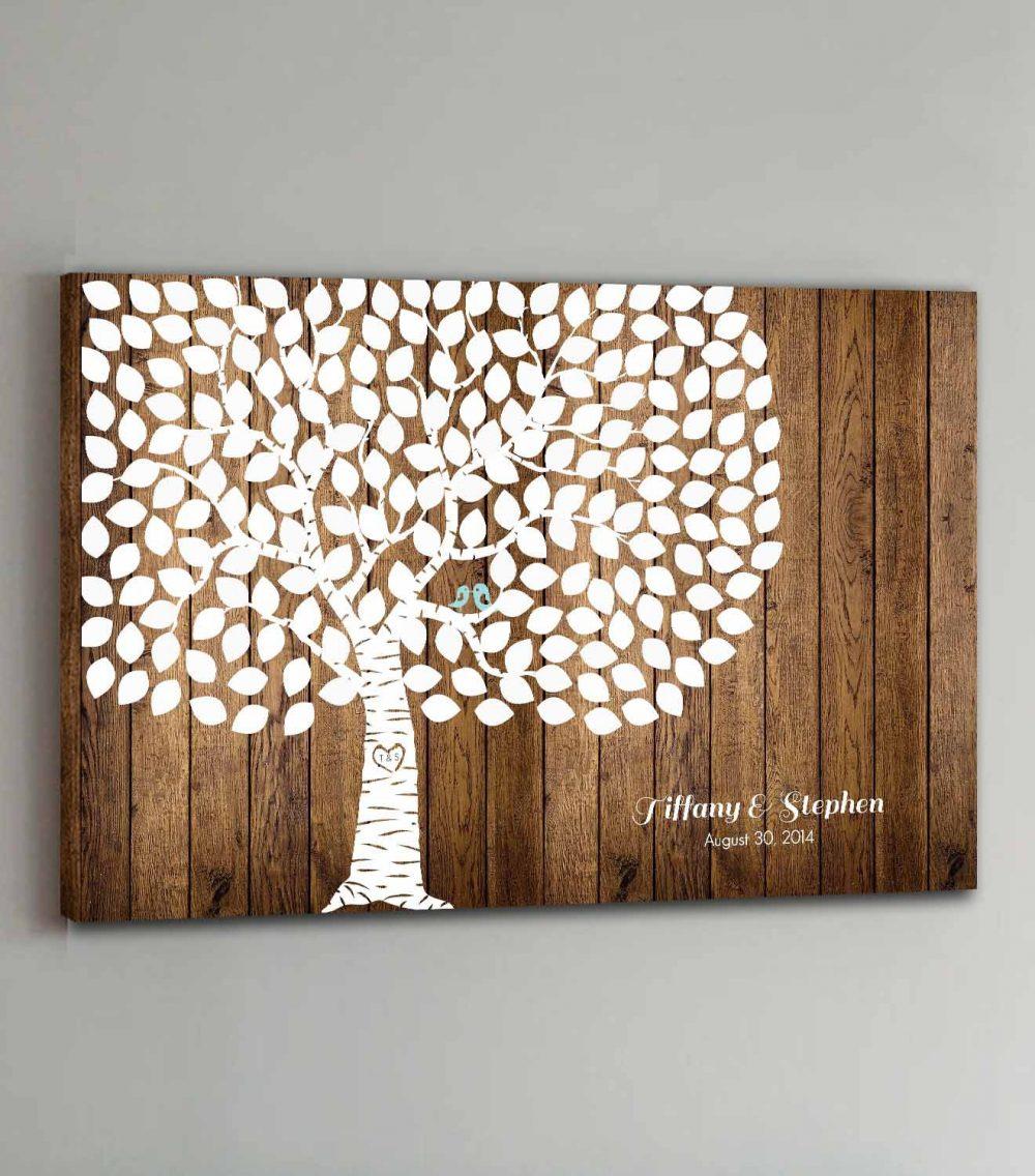 150 Guest Canvas Wedding Book Wood Tree Guestbook Canvas Alternative - Design