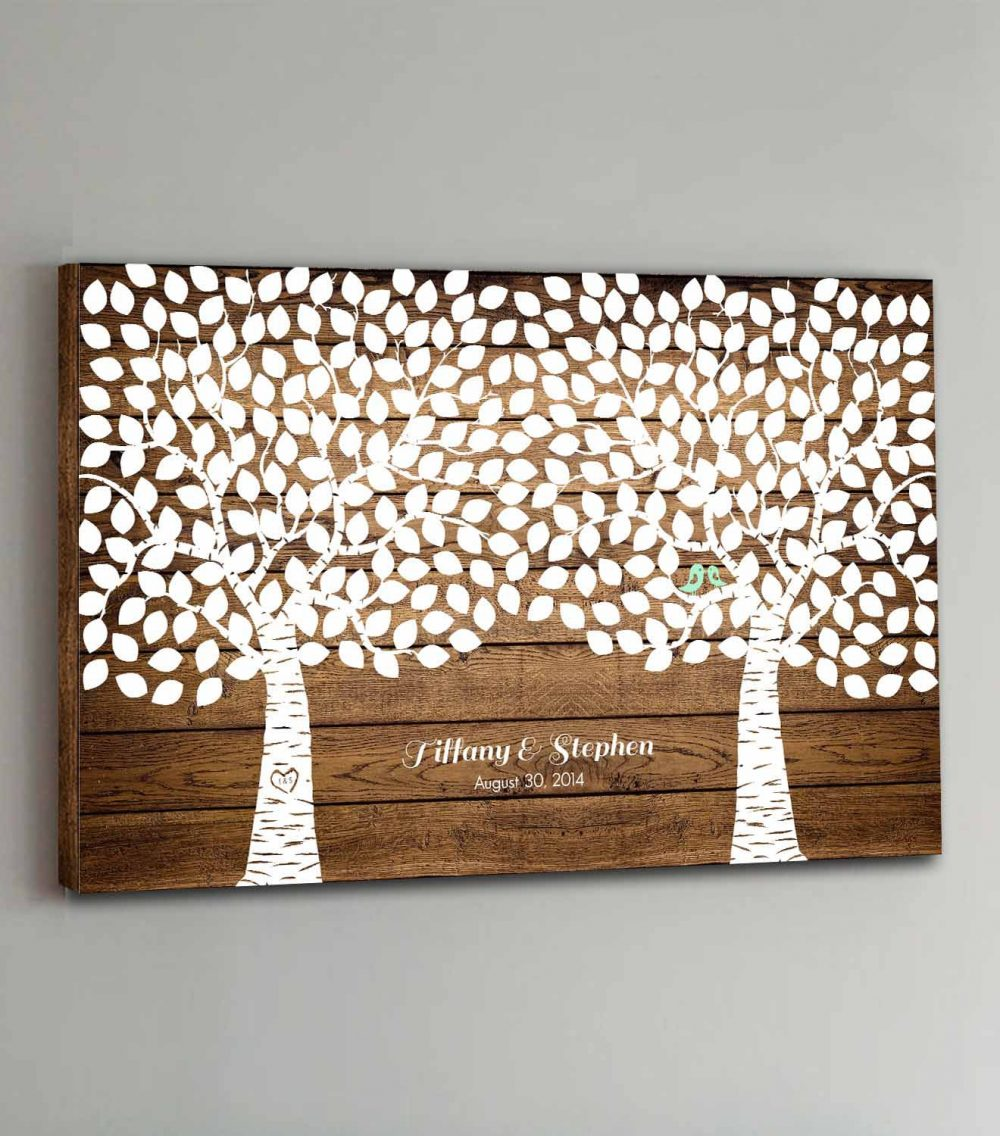300 Guest Canvas Wedding Book Wood Two Double Tree Guestbook Canvas Alternative Guestbk - Design
