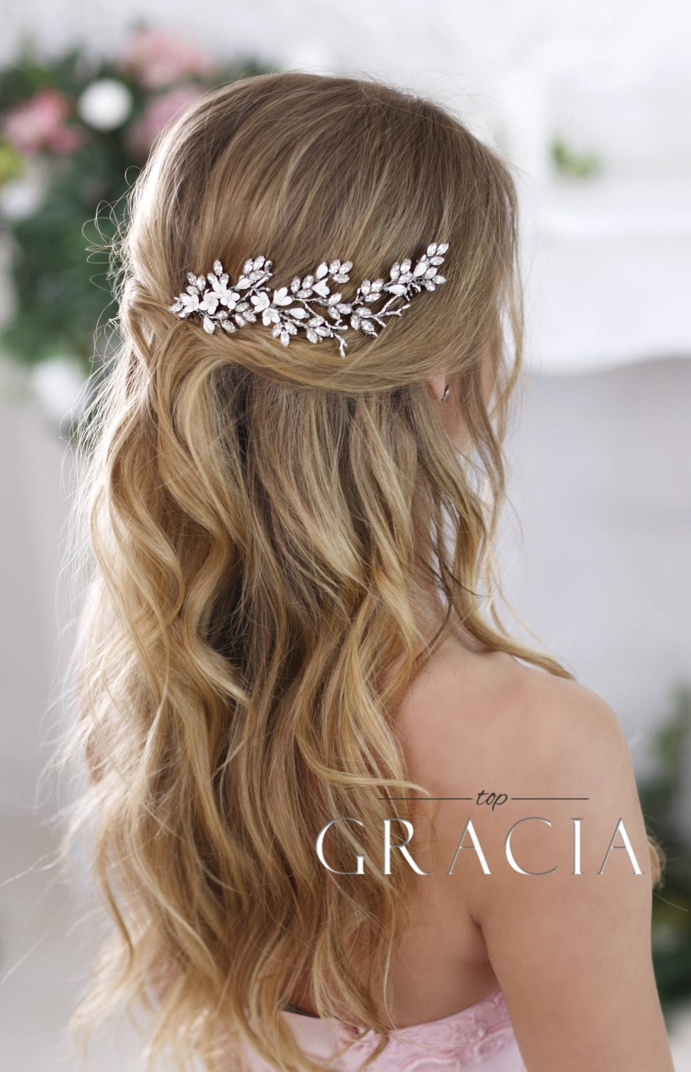 Bridal Hairpiece Crystal Hair Comb Wedding Headpiece Piece Floral Hair Comb Flower Rhinestone
