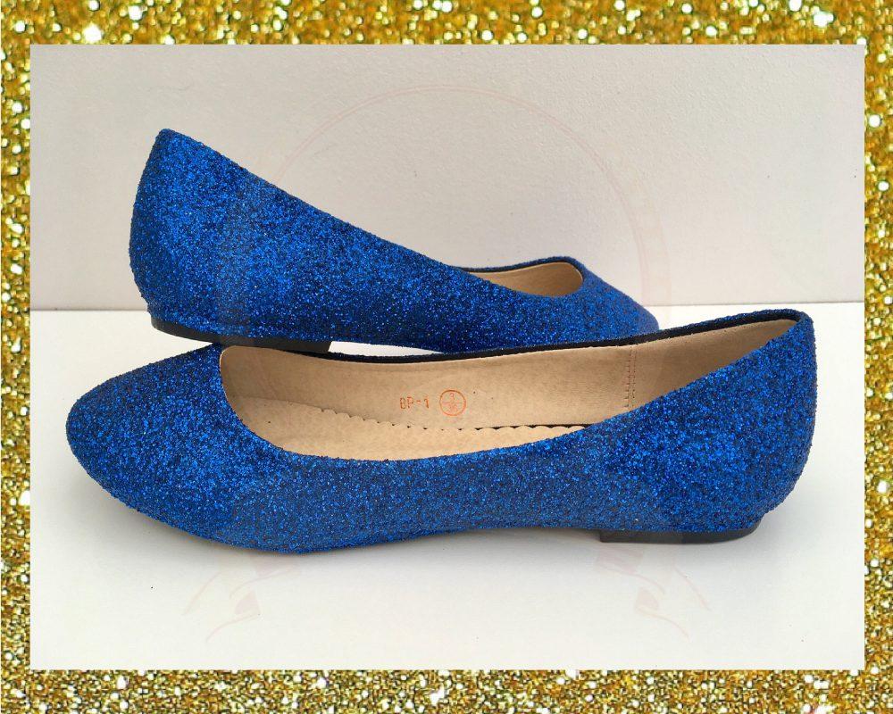Royal Blue Glitter Flats, Flat Bridal Shoes Blue, Glitter Ballet Shoes, Blue Womens, Custom Made Shoe