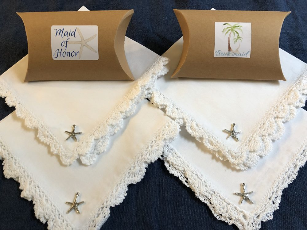 Beach Wedding Favors, Free Gift Boxes, Lot Of 4, Bridesmaids Lace Handkerchiefs, Starfish Tropical Ocean Bridal Party Hankies Gifts