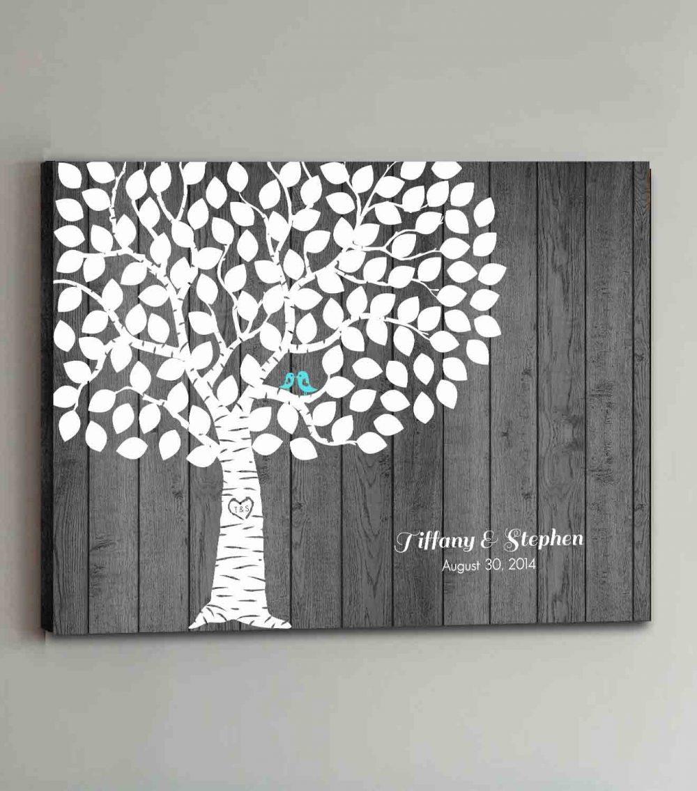 100 Guest Canvas Wedding Book Rustic Wood Tree Guestbook Canvas Alternative