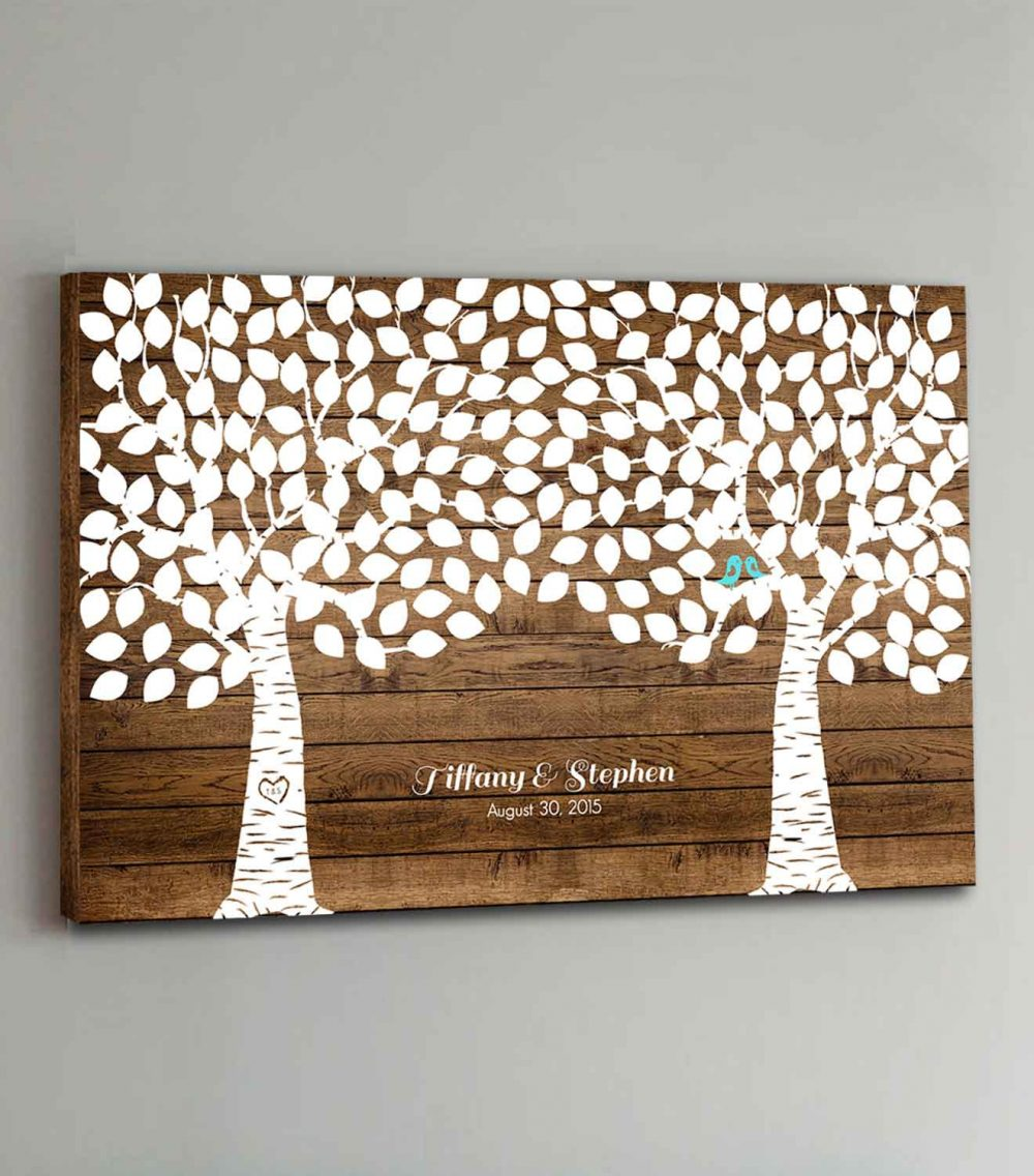 225 Guest Canvas Wedding Book Wood Two Double Tree Guestbook Canvas Alternative Guestbk - Design