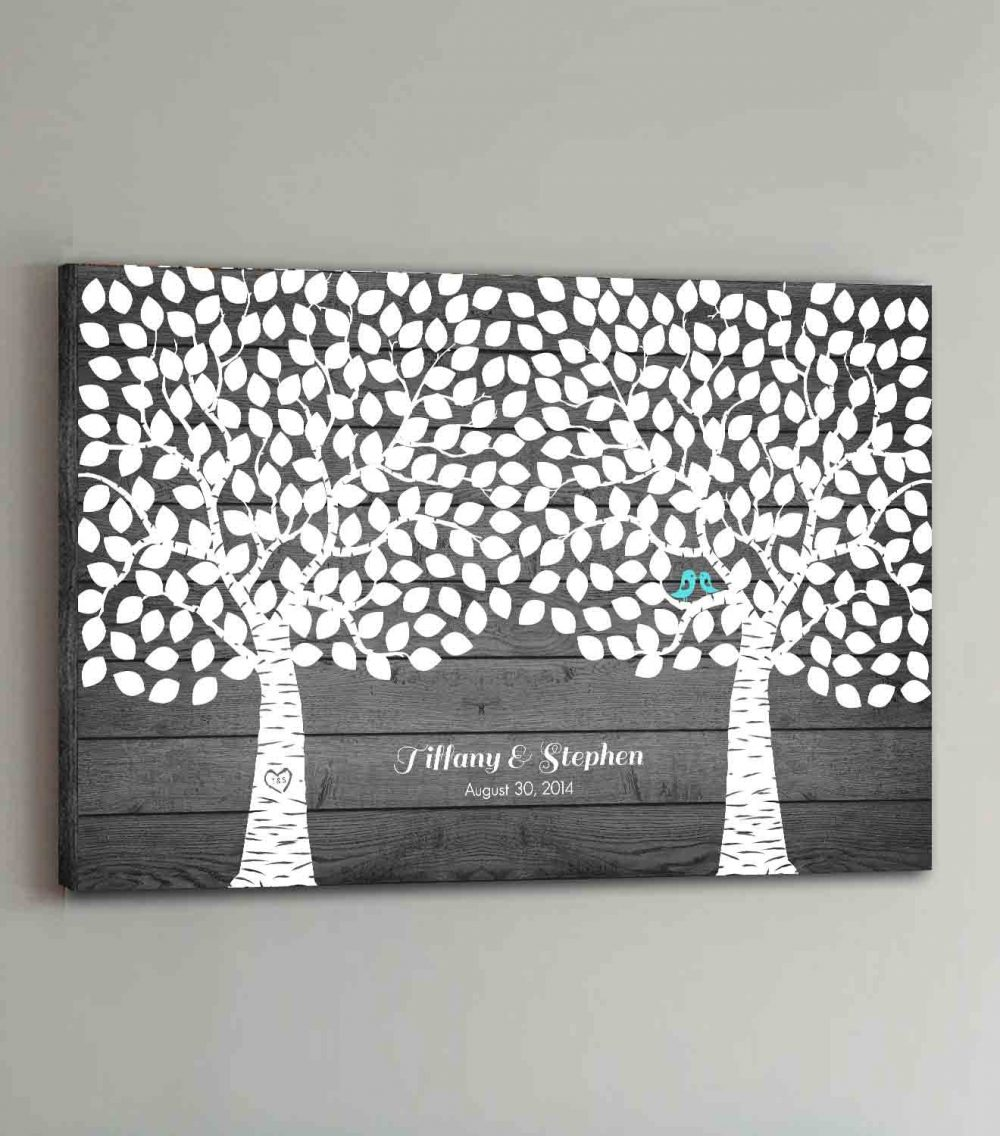 300 Guest Canvas Wedding Book Rustic Wood Two Double Tree Guestbook Canvas Alternative Guestbk