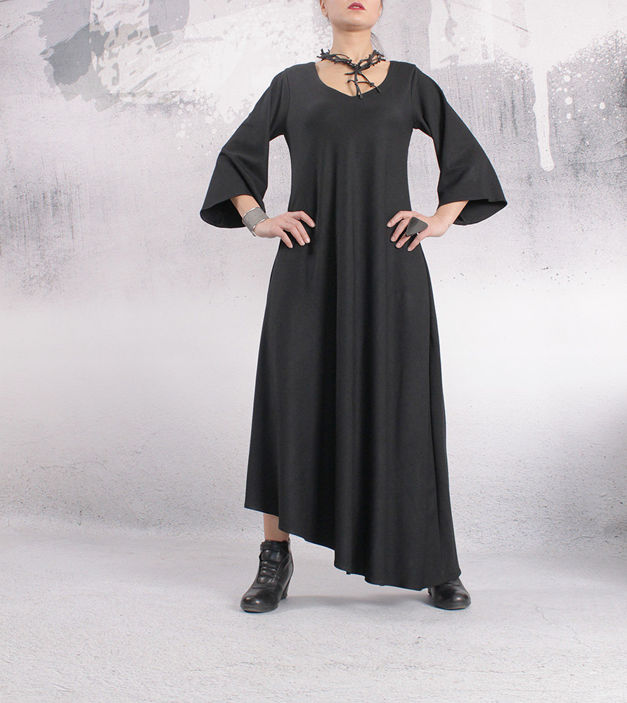 Black Dress , Asymmetric Dress, Maxi Dress, Long Dress , 3/4 Sleeved Dress, Party Dress, Woman Dress, A-Line Dress, Urbanmood - Ta-009-Wo