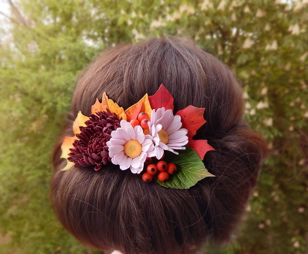 Fall Wedding Headpiece Autumn Hair Comb Burgundy Floral Piece Red Orange Leaves Hairpiece Rustic Bridal Head Bride Accessories