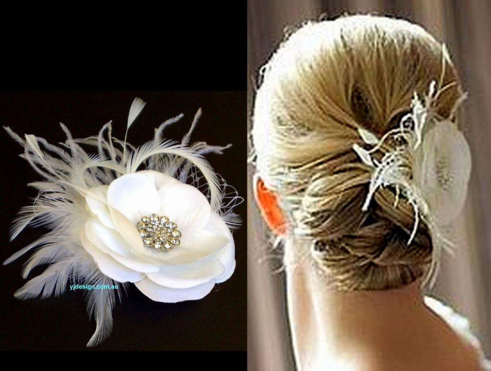 Feather Bridal Fascinator, Wedding Headpiece, Flower Floral Hair Clip, Rachel