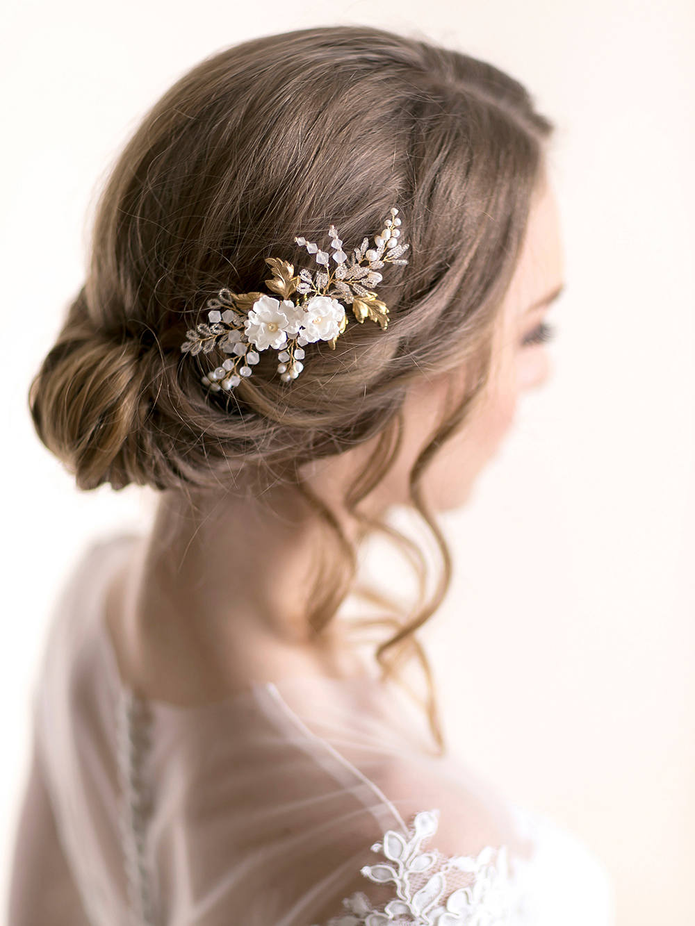 Floral Bridal Hair Comb With Silk Flowers & Vine Leaves - Accessory Flower Wedding Headpiece Rose Gold