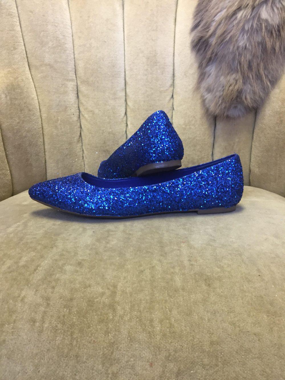 Women's Custom Made To Order Blue Glitter Ballet Flats. Pointed Toe Glitter Slip On Shoes