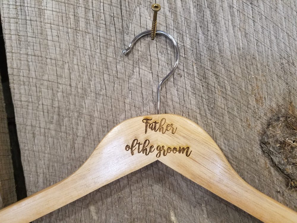 Father Of The Groom Gift Clothes Hanger Bridal Party Engraved Hard Wood Coat Sturdy Wedding Bromellow Personalized