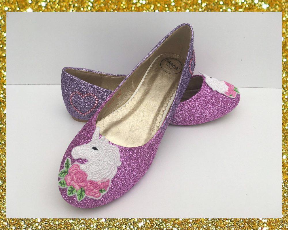 Pink Unicorn Shoes, Womens Flat Glitter Ballet Flats, Pumps, Custom Shoes