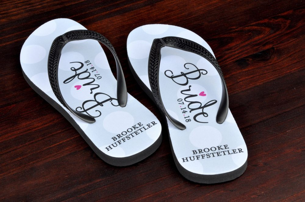 Bridal Flip Flops - Bride | Wedding Beach Shoes To Be Slippers Personalized Sandals