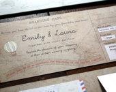 Phileas Fogg Vintage Map Boarding Pass Invitations Travel Themed Wedding, Abroad Wedding, Vintage Wedding, Around the World Wedding