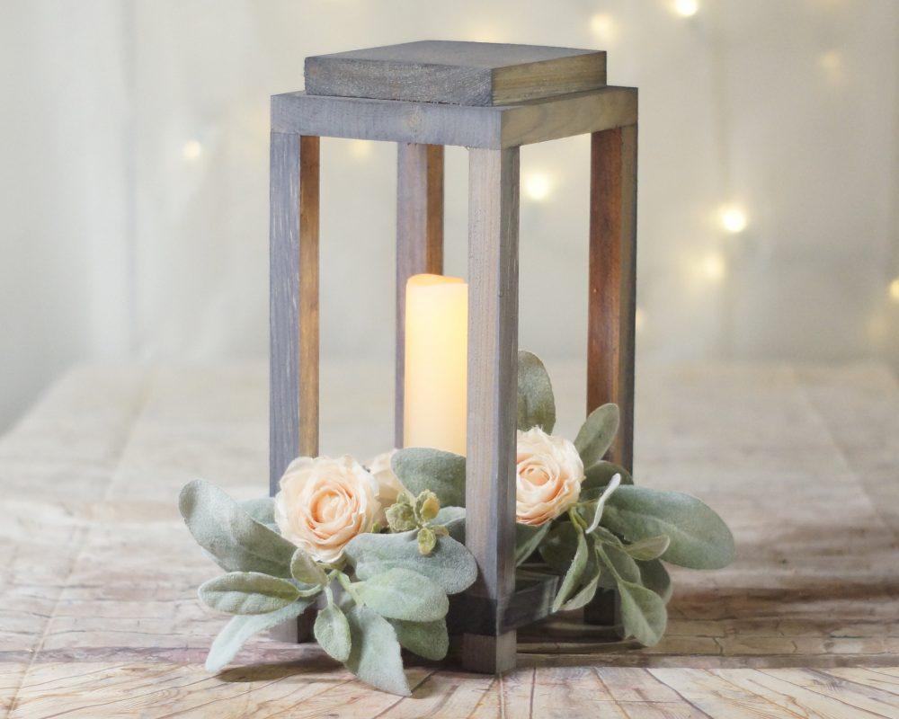 Gray Farmhouse Lantern, Rustic Wedding Centerpiece, Candle Holder, Wood Candle, Centerpiece For Wedding, Lantern Decor, Table Ideas