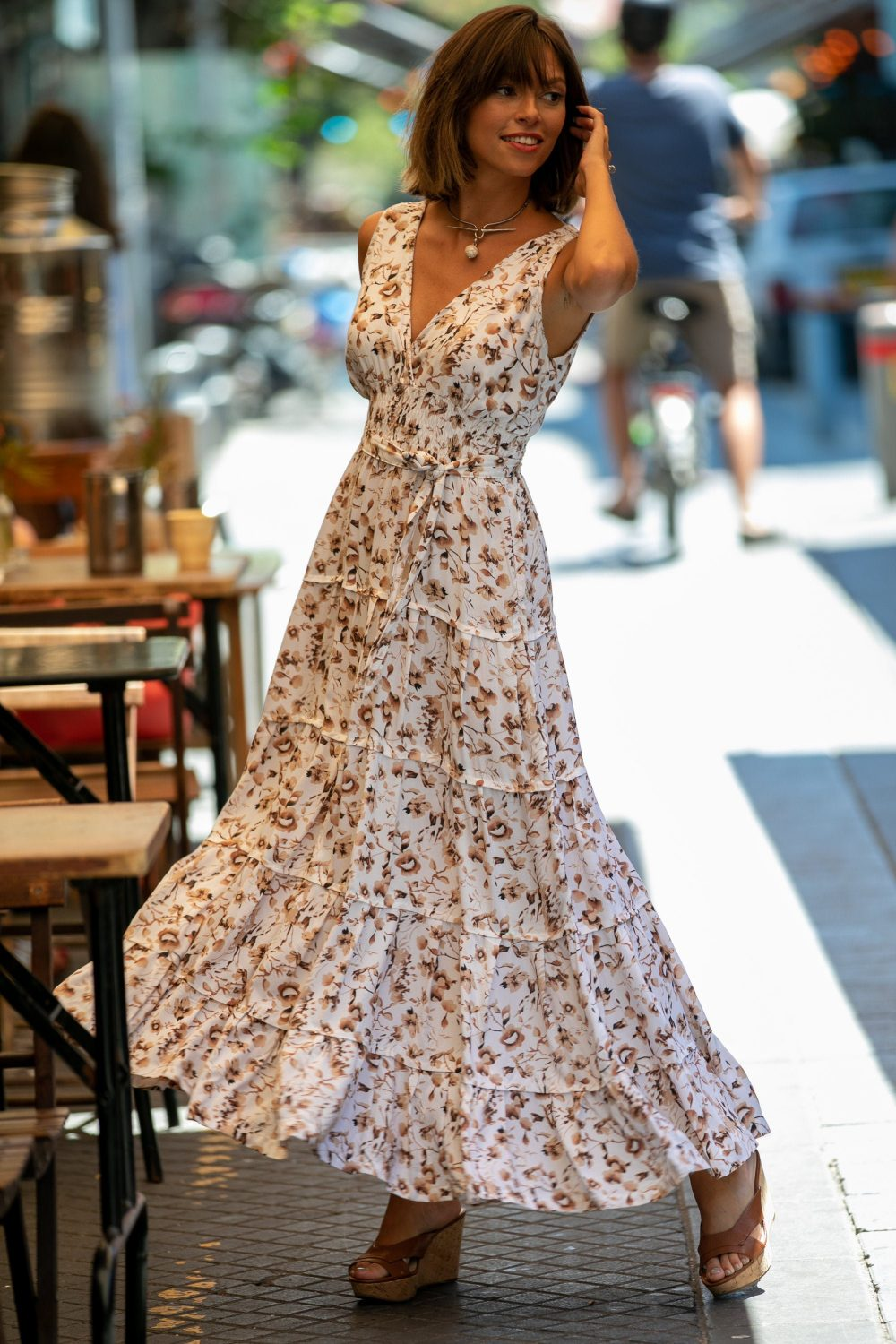 Cream Cotton Floral Maxi Dress, Urban Casual & Special Occasion Summer Bohemian Long Carrie Fit & Flare Empire Waist Dress