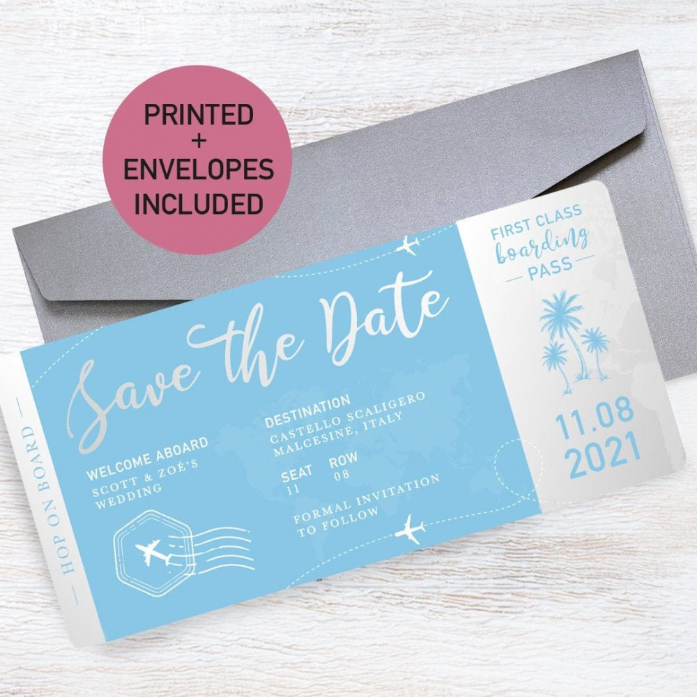 24 Colours | Boarding Pass Wedding Save The Date Invitation Cards Airplane Aeroplane Ticket Abroad Free Delivery