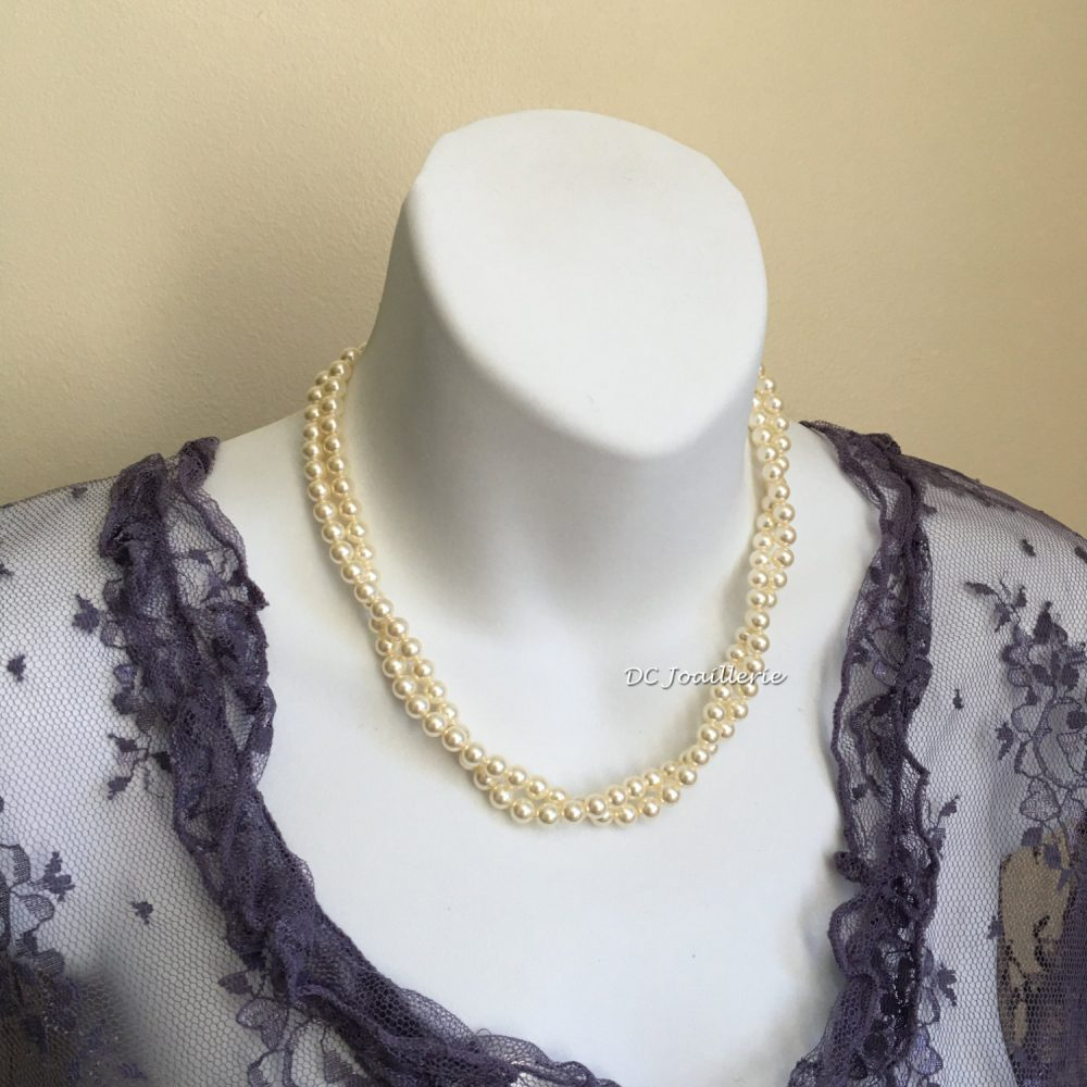 Bridal Swarovski Pearl Necklace, Twisted Gift For Her Bridesmaids, Wedding Jewelry, Mother Of Groom Bride