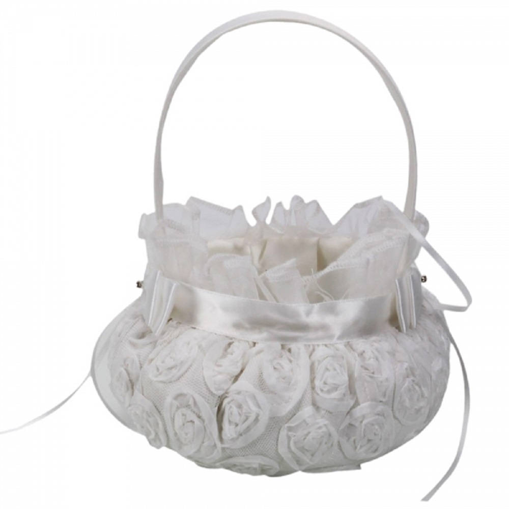 Embroidered Wedding Flower Girl Basket Prime White....free Shipping From China To Us