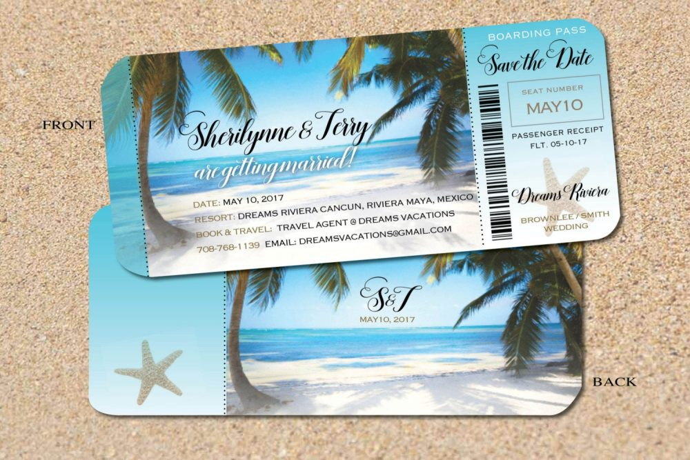Attractive Ticket Destination Wedding Boarding Passes, Invites Or Save The Dates