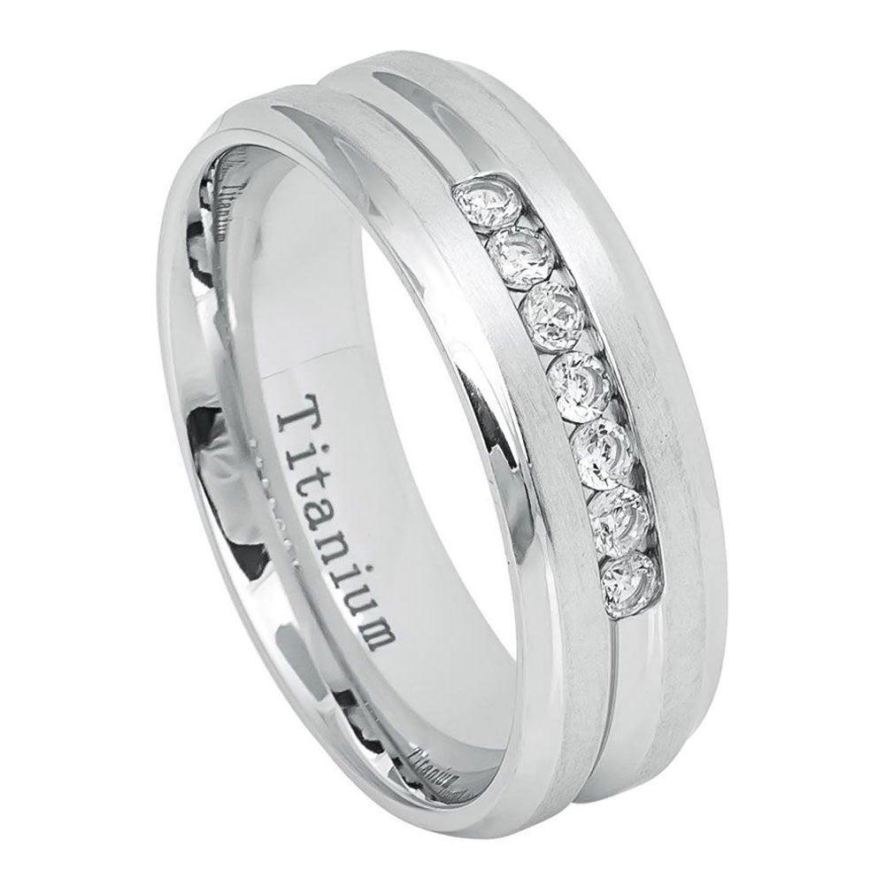 7mm Titanium Band White Ip Ring Brushed With 7 Cubic Zirconia Czs/Gift Box(Jdti649