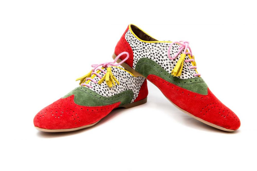 Women's Oxford Shoes, Red & Chartreuse Green Ballet Flats, Leather Handmade Print Shoes