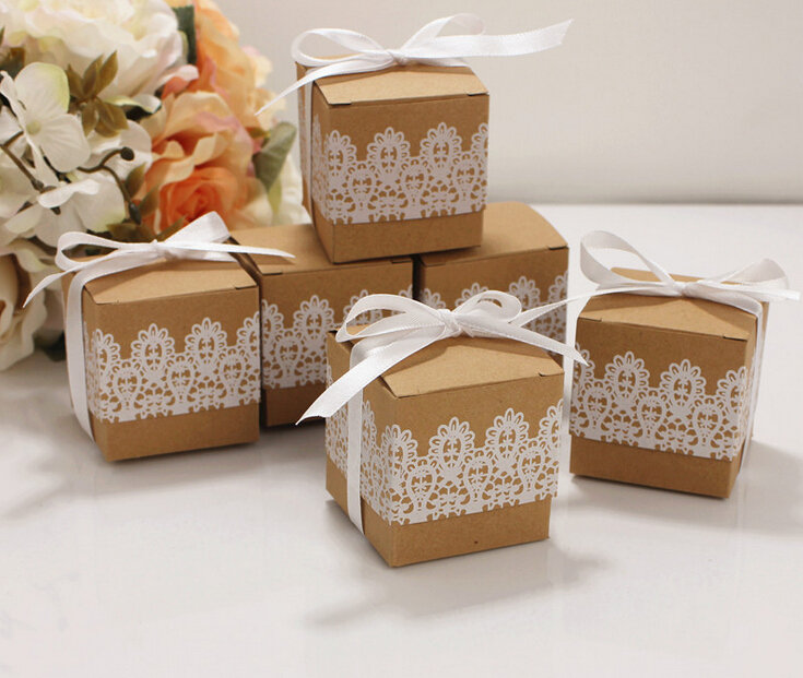 50 Pack Kraft Lace Favor Box Diy Chocolate Gift Baby Shower Party Wedding Bomboniere Favors