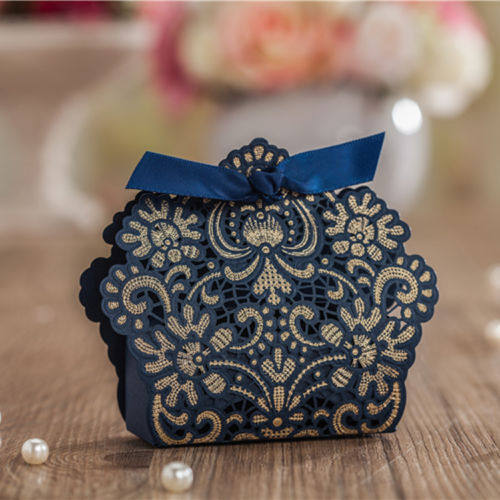 50Pcs Laser Cut Navy Blue Lace Wedding Favor Box Candy Chocolate Birthday Baby Shower Gift Holder