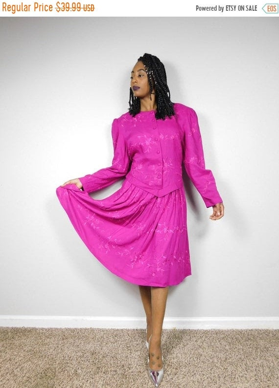 50% Off Blowout Sale Vintage Kathie Lee Plaza South Magenta Floral Flower Embroidered Blouson Button Down Long Sleeve Midi Dress Sz 12 Large