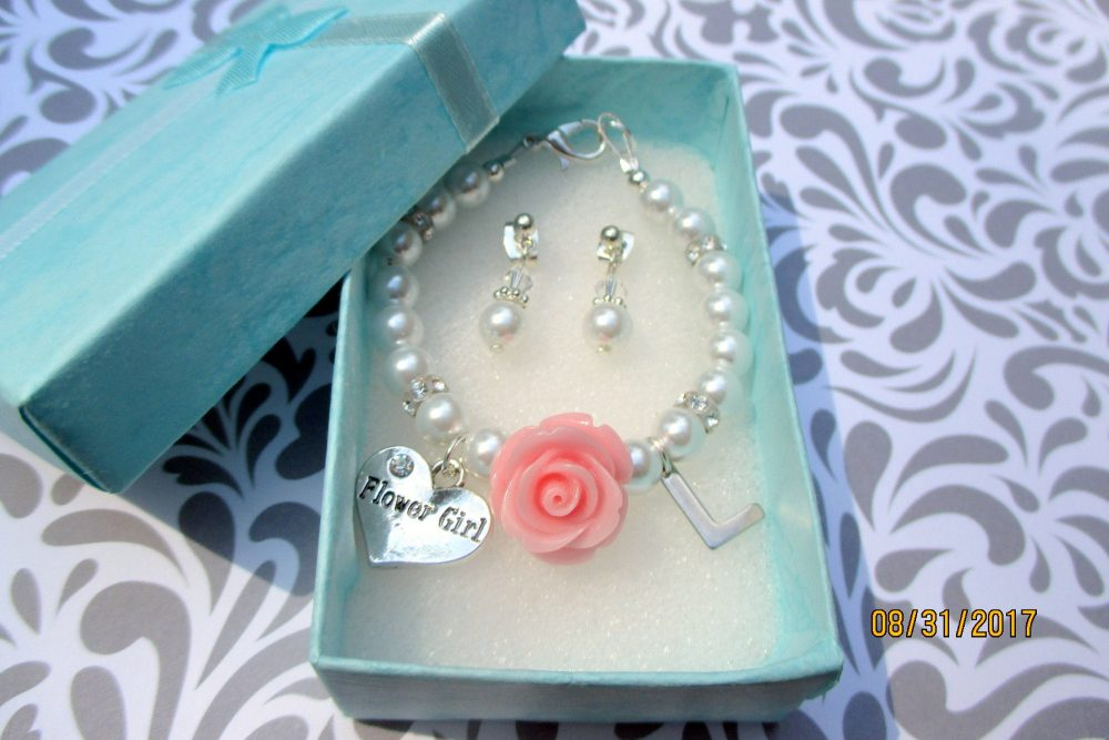 Swarovski Crystals, Flower Girl Bracelet Gift, Toddler Wedding Bracelet, Little Girls Jewelry, Childrens