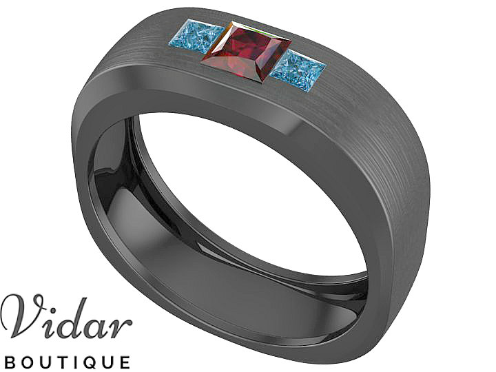 Brushed Wedding Band, Unique Men Blue Diamond Ruby Ring For Wedding, Princess Cut Ring, Black Gold